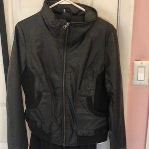 Black leather aviator jacket